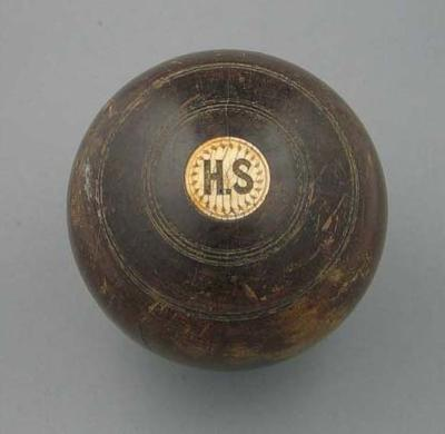 Lawn bowl, manufactured by Thomas Taylor c1880