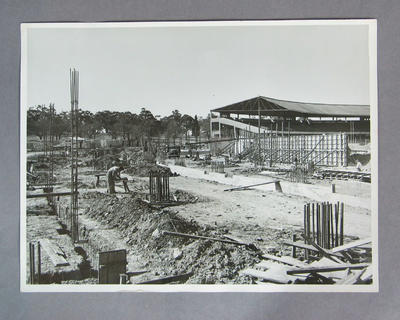 Photograph of MCG Olympic Stand under construction, c1956