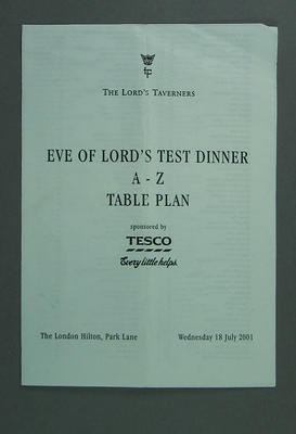 Seating plan, The Lord's Taverners Eve of Lord's Test Dinner - 18 July 2001