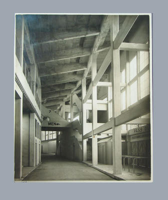 Photograph of Melbourne Cricket Ground Northern stand interior, c1950s