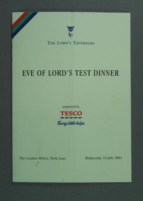 Menu, The Lord's Taverners Eve of Lord's Test Dinner - 18 July 2001