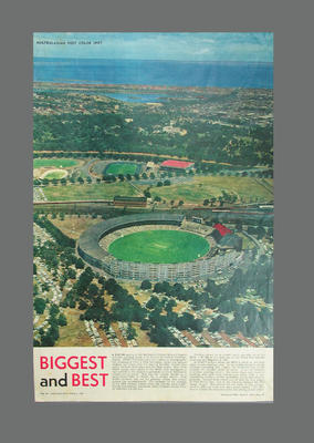 Newspaper clipping, aerial photograph of Melbourne Cricket Ground - 1961
