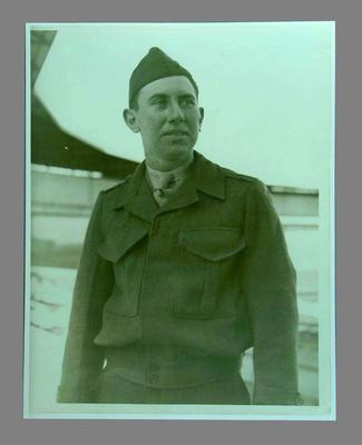 Reproduction photograph of Louis Imfeld dressed in US Marine Corps uniform, at the Melbourne Cricket Ground