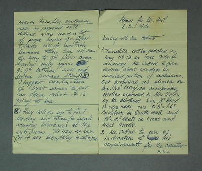 Handwritten minutes, MCC meeting - associated with 1956 Olympic Games