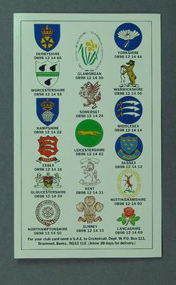 "Postcard, ""County Cricket '88"""
