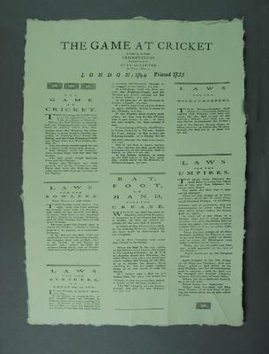 "Print, ""The Game at Cricket"""