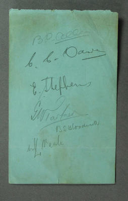 Autograph page, signatures largely illegible