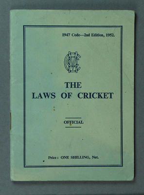 """Booklet, """"The Laws of Cricket"""" 1952"""