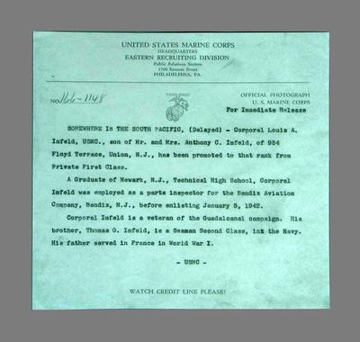Reproduction telegram from US Marine Corps, announcing the promotion of Louis Imfeld