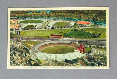 Postcard, panorama over Melbourne Cricket Ground and precinct c1956