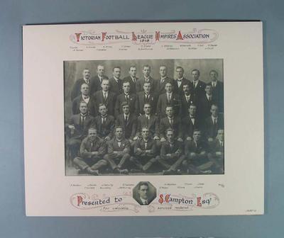 Photograph, Victorian Football League Umpires' Association 1918; Photography; 1994.3039.1