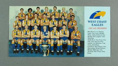 Photograph of West Coast Eagles FC, 1992; Photography; Documents and books; 1994.3016.9