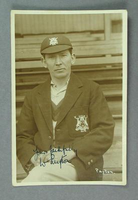 Postcard, photograph of W Payton