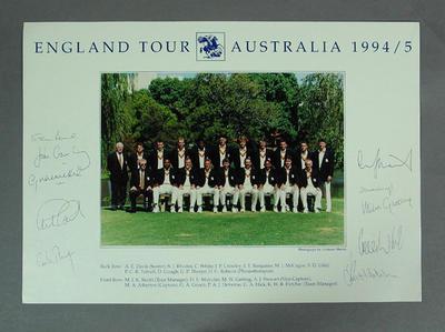 Photograph of English cricket team in Australia, 1994-95