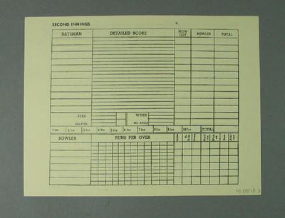 "Unused scorecard, was inserted into ""Australia v All-India Tests 1947-48"" magazine; Documents and books; M10518.2"