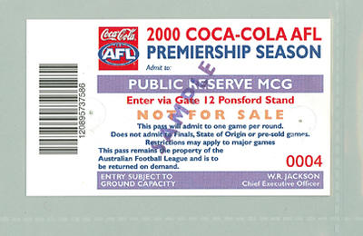Sample Public Reserve ticket, 2000 AFL Premiership Season
