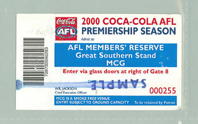 Sample AFL Members Reserve ticket, 2000 AFL Premiership Season; Documents and books; M10096.1