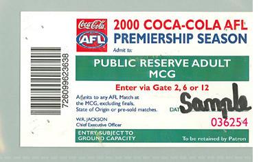 Sample Public Reserve Adult ticket, 2000 AFL Premiership Season; Documents and books; M10096.4