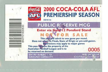 Sample Public Reserve ticket, 2000 AFL Premiership Season; Documents and books; M10096.3