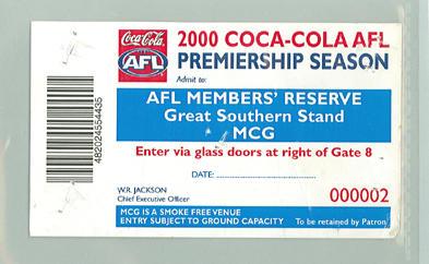 Sample AFL Members' Reserve ticket, 2000 AFL Premiership Season