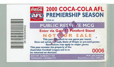 Sample Public Reserve ticket, 2000 AFL Premiership Season; Documents and books; M10096.10