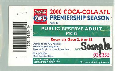 Sample Public Reserve Adult ticket, 2000 AFL Premiership Season