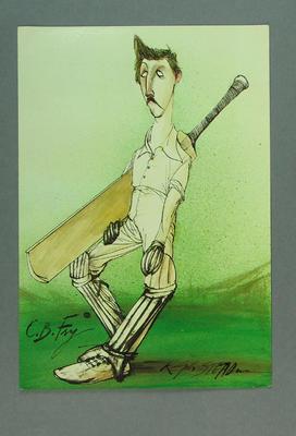 Cartoon drawing of cricketer Charles B. Fry  printed on card advertising 'John Arlott Talks Cricket' - tapes recorded by Charisma Records.  Artist is Ralph Steadman