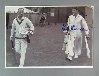 Reproduction photo, depicts Lindsay Hassett and Keith Miller during England v Australia Test match at Lord's - 1953
