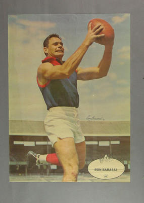 Poster featuring footballer Ron Barassi, signed
