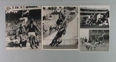 Four photographs of VFL footballers in action, c1959-71