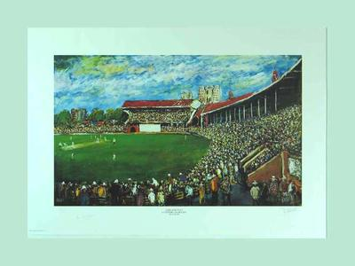 """Print, """"Adelaide Oval, A Century of Cricket"""" - artist Pro Hart, 1993"""