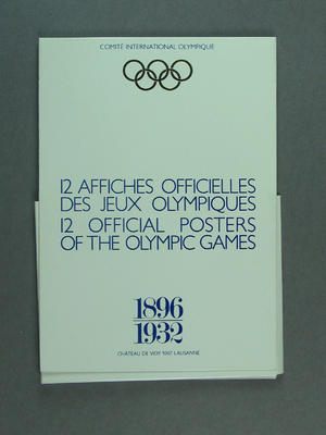 Card wallet for 12 coloured postcard reproductions of official Olympic Games posters between 1896 - 1932, issued by the I.O.C. in 1983; Documents and books; 1986.14.37