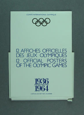 Card wallet for 12 coloured postcard reproductions of official Olympic Games posters between 1936 - 1964, issued by the I.O.C. in 1984; Documents and books; 1986.14.38