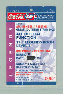 Sample AFL 2000 Season Members' Reserve tickets for Functions: Brownlow x 4, Legends x 3, Elite x 3; Documents and books; M10098