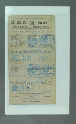 Reproduction scorecard, England v Dominions at Lord's - 25-28 August 1945; Documents and books; M10055