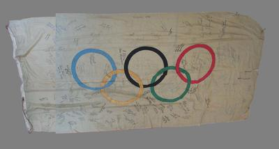 Autographed flag, used at 1956 Olympic Games