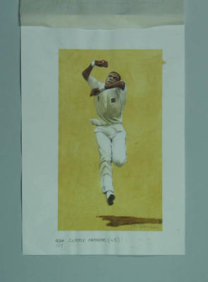 Watercolour, Curtly Ambrose, by artist Robert Ingpen 2002, MCC Tapestry no.167; Artwork; M10429