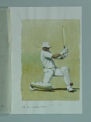 Watercolour, Sunil Gavaskar, by artist Robert Ingpen 2002,  MCC Tapestry no.138; Artwork; M10401