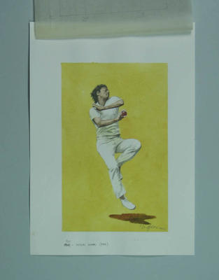 Watercolour, Imran Khan, by artist Robert Ingpen 2002, MCC Tapestry no.141