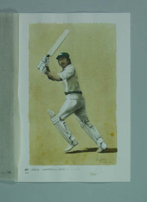 Watercolour, Greg Chappell, by artist Robert Ingpen 2002, MCC Tapestry no.142