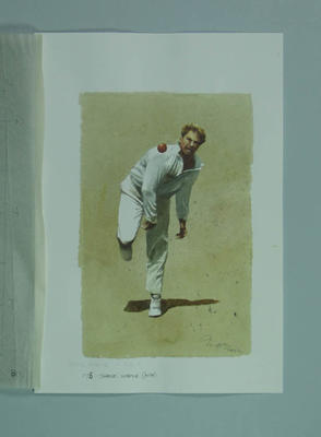 Watercolour, Shane Warne, by artist Robert Ingpen 2002, MCC Tapestry no.178