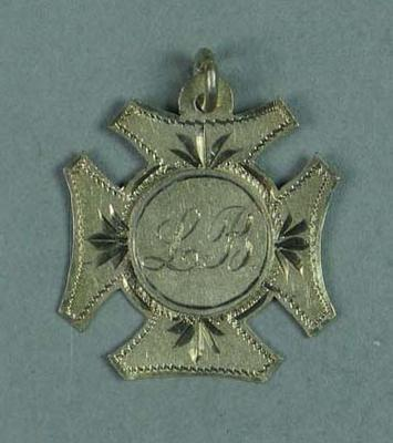 Silver Maltese cross medal presented by VSSAAA for skipping, won by Lily Beaurepaire in 1907