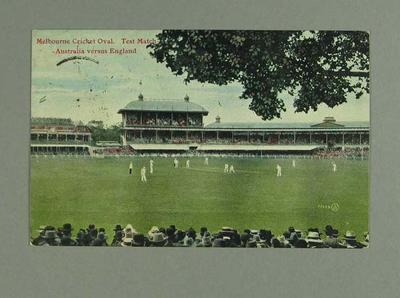 Coloured postcard, Australia v England Test match at Melbourne Cricket Ground - 1906