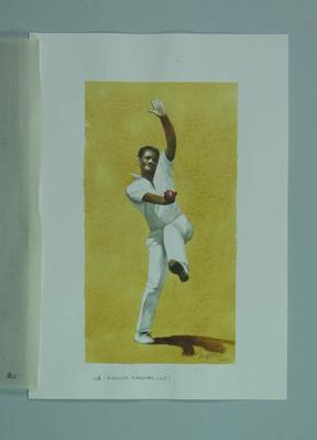 Watercolour, Malcolm Marshall, by artist Robert Ingpen 2002, MCC Tapestry no.148; Artwork; M10411