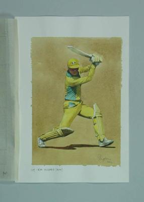 Watercolour, Kim Hughes, by artist Robert Ingpen 2002, MCC Tapestry no.149; Artwork; M10412