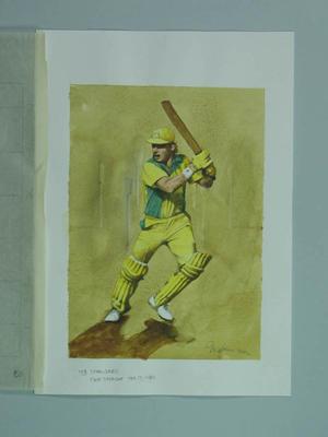Watercolour, Dean Jones & MCG light towers, by artist Robert Ingpen 2002, MCC Tapestry no.153; Artwork; M10416