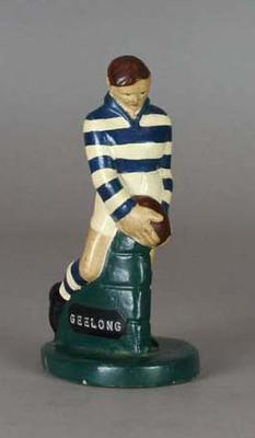 Plaster figure, Geelong FC footballer c1957