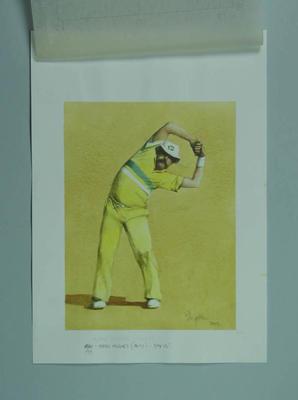 Watercolour, Merv Hughes, by artist Robert Ingpen 2002, MCC Tapestry no.157; Artwork; M10419