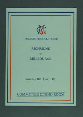 Menu, MCC Committee Dining Room - Richmond v Melbourne, 11 April 1992; Documents and books; M14524