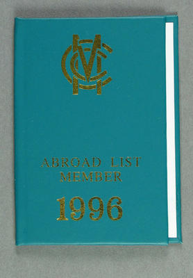 Marylebone Cricket Club Abroad List membership card, 1996 - issued to Dr J C Lill; Documents and books; M14519
